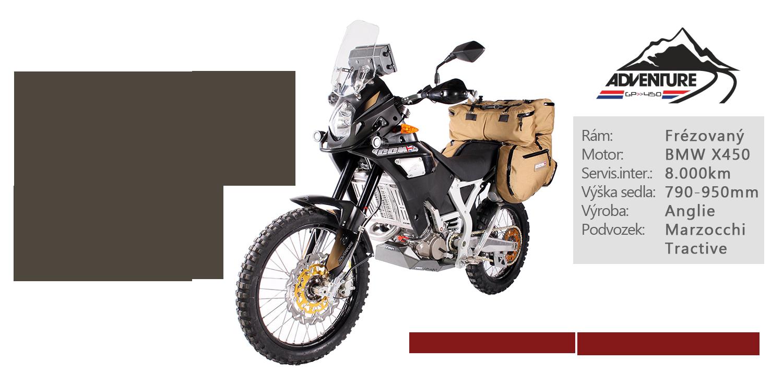 CCM450 Adventure, nízká hmotnost 125kg, připravené na cestu, jednoduchá údržba, jízdní vlastnosti, dlouhý dojezd, vysoký kokpit, frézovaný rám, podvozek Marzocchi a Tractive